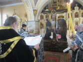 Архиепископ Софроний совершил вечернее богослужение с чином пассии в Трехсвятительском соборе города Могилева